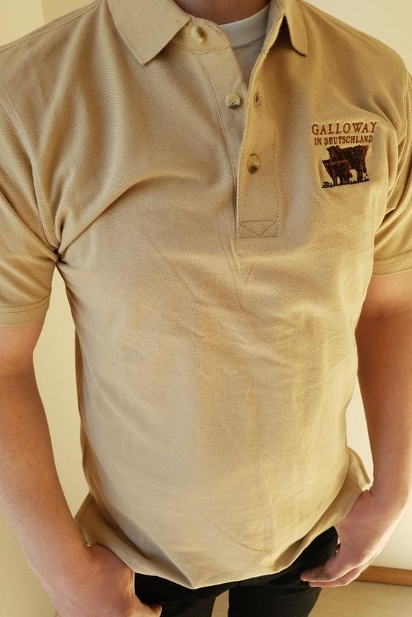 Polo Shirt beige mit Aufdruck Galloway in Deutschland