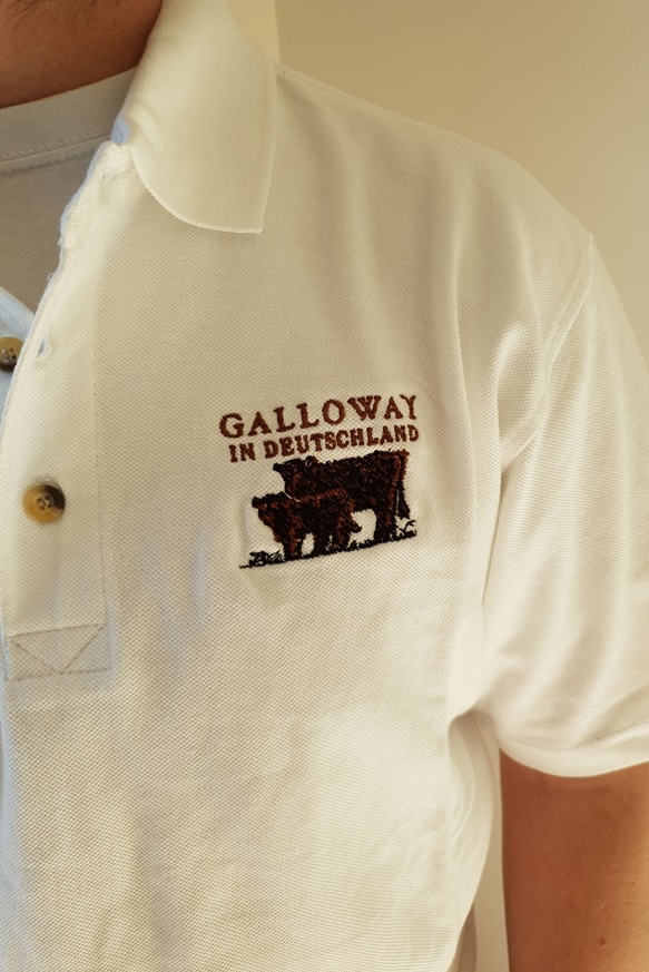 Polo Shirt weiß mit Aufdruck Galloway in Deutschland